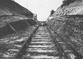 View of the top of the EHLR incline showing the hut used to house the cable controlling equipment on 11th May 1930
