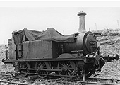 EHLR 0-6-0T No 1, an ex-Brighton 'Terrier' stands with a  tarpaulin covering the cab, boiler and fittings
