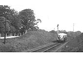 GWR Diesel Railcar No 4 is seen on an up service to Leamington just south of Claverdon station in 1939