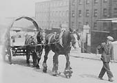 GWR Chain Horse helping another horse with a loaded flat trolley up the Pitsford Street slope