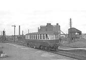 Ex-GWR Diesel Railcar No W26 W is seen approaching the down platform with a local passenger service from Leamington Spa in 1957