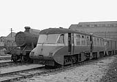 Another view of ex-GWR Railcars No 13 and No 17 seen stabled on the scrap lines at Tyseley shed in March 1960