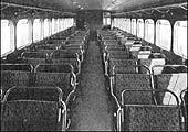 An interior view of what is thought to be the passenger cabin in a Michelin Type 22 Railcar