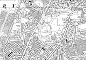 A 1944 Ordnance Survey map showing the line of Foleshill Railway and the various factories it served
