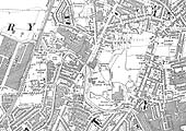 A 1926 Ordnance Survey map showing the line of Foleshill Railway and the various factories it served