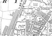 Close up of the 1912 OS map showing the junction of line of the Foleshill Railway at Webster's Sidings