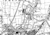 An 1888 Ordnance Survey map showing mainly countryside where the Foleshill Railway was later to be built