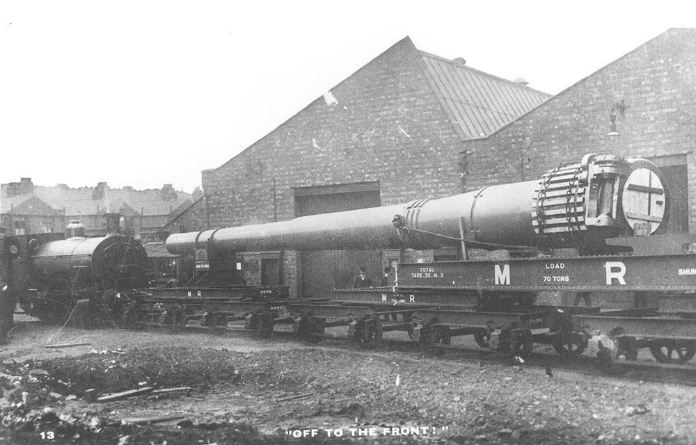 An unidentified 0-4-0ST is seen moving a large naval gun through Coventry Ordance Works to be moved to Scotoun in Glasgow where it would be married to its mountings
