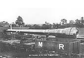 Another naval gun is seen mounted on Midland Railway trucks whilst standing in the exchange sidings adjacent to the LNWR's Coventry Loop Line