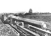 Another photograph taken at the exchange sidings with what is thought to be a 15 inch gun barrel for one of the Royal Navy's Dreadnought class battleships