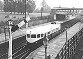 Coventry Pneumatic Railcar No 2 is seen passing through Kenilworth station on its way to Nuneaton via Coventry
