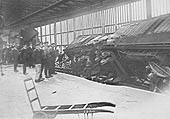 View of some of the wrecked coaches from the Euston to Manchester parcels which occurred on 26th August 1923