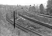 Looking towards Winson Green junction with the single line to Soho Wharf Pool falling away to the left on 3rd October 1965