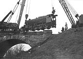 Second of five photographs showing the recovery of ex-LMS 8F 2-8-0 No 48262 at Spon End arches on 16th December 1962