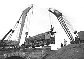 Third of five photographs showing the recovery of ex-LMS 8F 2-8-0 No 48263 at Spon End arches on 16th December 1962
