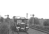 The Ro- Railer is seen travelling 'wrong' road after leaving the single section from Fenny Compton