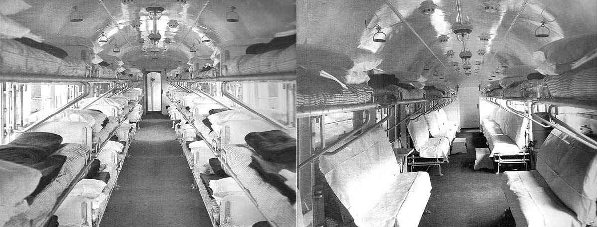 Two views of the inside of an Open Ward Coach constructed for an Ambulance train at Swindon Works