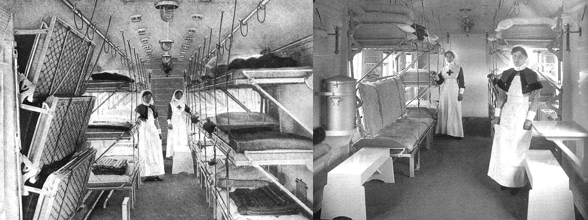 Two views of the inside of an Open Ward Coach constructed for Continental Ambulance train No 18 at Swindon Works