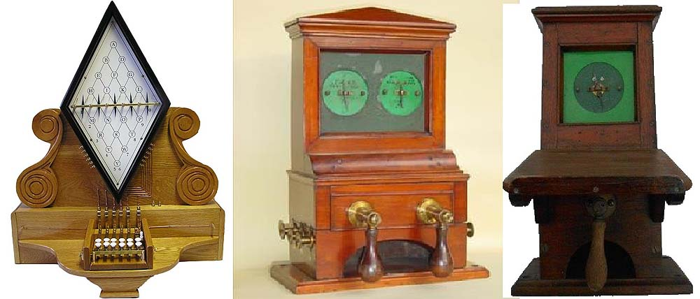One, four and five needle telegraph instruments developed by Cooke and Wheatstone