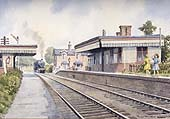 A watercolour painting showing an ex-MR 4-4-0 2P drifting past Clifton Mill station's level crossing